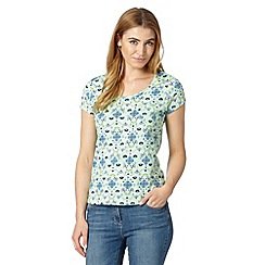 Mantaray - Pale green short sleeved oriental print top