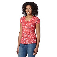 Mantaray - Dark pink floral woven top