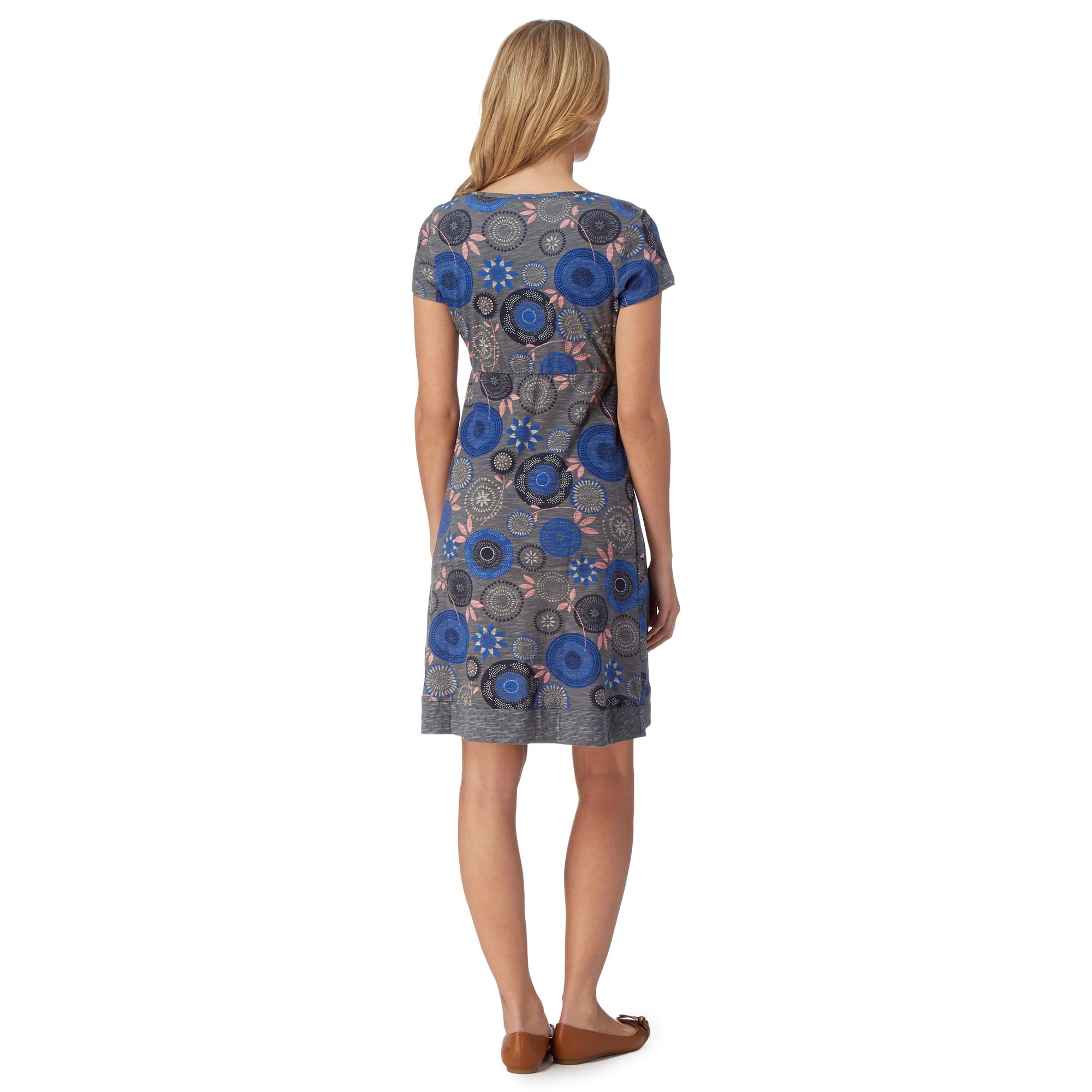 Mantaray Womens Grey Floral And Spotty Jersey Dress From ...