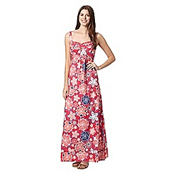 Mantaray - Dark pink embroidered flower print maxi dress