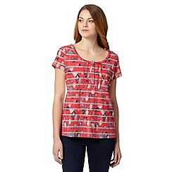 Mantaray - Pink striped leaf print t-shirt