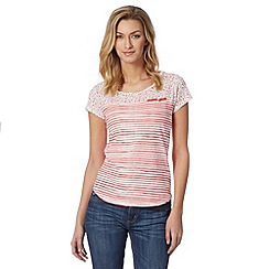 Mantaray - Pink and white ditsy striped t-shirt