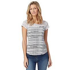 Mantaray - Navy floral yoke striped t-shirt