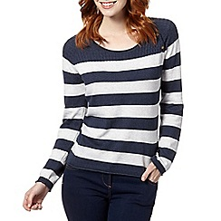 Mantaray - Navy striped cable knit jumper