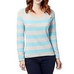 Mantaray - Light grey striped cable knit jumper
