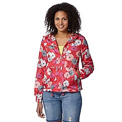Mantaray - Dark pink poppy floral pac a mac