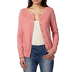 Mantaray - Pink pointelle yoke cardigan