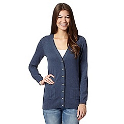 Mantaray - Navy longline cable trim cardigan