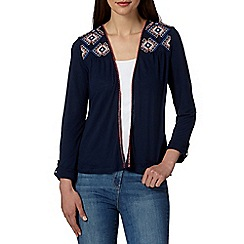 Mantaray - Navy embroidered yoke cardigan