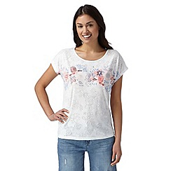 Mantaray - White jungle print burnout t-shirt