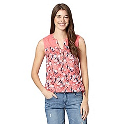 Mantaray - Peach toucan print bubble hem top