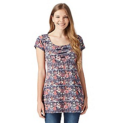 Mantaray - Navy floral toucan print tunic