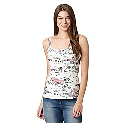 Mantaray - Off white beach scene print cami top