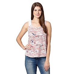 Mantaray - Red striped bird print top