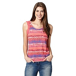 Mantaray - Coral crochet sleeveless patterned top