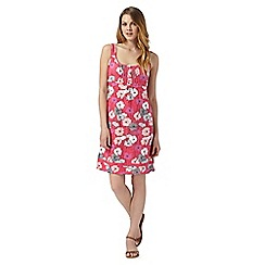Mantaray - Dark pink floral jersey dress
