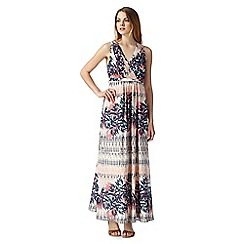 Mantaray - Peach sleeveless palm tree print maxi dress