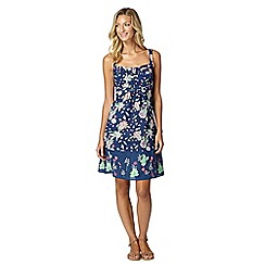 Mantaray - Navy floral embroidered dress