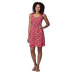 Mantaray - Pink bird print crochet back dress