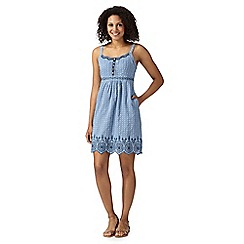 Mantaray - Blue embroidered chambray dress
