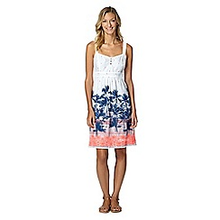 Mantaray - White flamingo embroidered sun dress