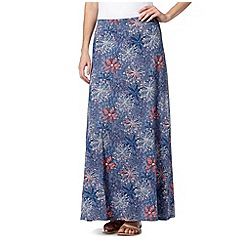 Mantaray - Dark blue floral printed maxi skirt