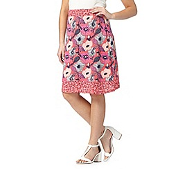 Mantaray - Bright pink poppy print jersey skirt