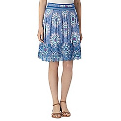 Mantaray - Blue floral embroidered hem skirt