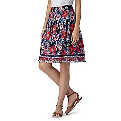 Mantaray - Navy floral print woven skirt