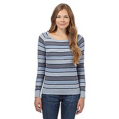 Mantaray - Blue striped ribbed jumper