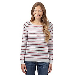 Mantaray - Grey striped ribbed jumper