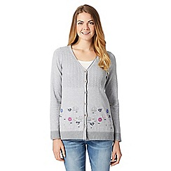 Mantaray - Grey cable knit floral embroidered cardigan