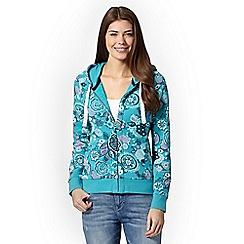 Mantaray - Turquoise floral print hoodie