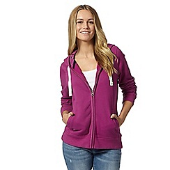 Mantaray - Dark pink zip through hoodie