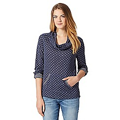 Mantaray - Blue spotted drape neck top