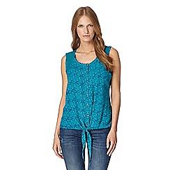 Mantaray - Turquoise seahorse print shirt