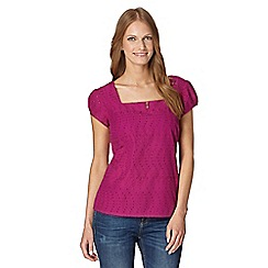 Mantaray - Dark pink woven broderie shell top