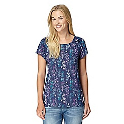 Mantaray - Navy sea flower print textured shell top