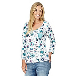 Mantaray - White flower doodle print top
