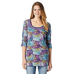 Mantaray - Purple long sleeved coral print tunic