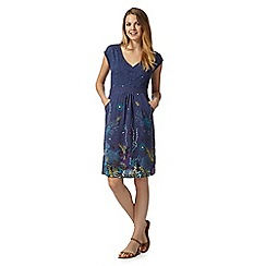 Mantaray - Blue underwater print tie back dress