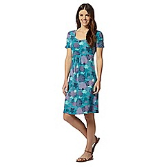Mantaray - Teal short sleeved under the sea print dress