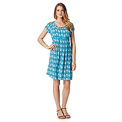 Mantaray - Turquoise floral print lattice neck dress