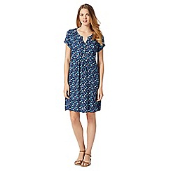 Mantaray - Blue leaf print dress