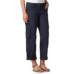 Mantaray - Navy roll cuff cargo trousers