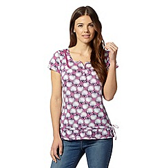 Mantaray - Dark pink shell print hem tie top