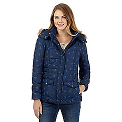Mantaray - Blue hummingbird quilted faux fur coat