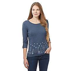 Mantaray - Navy knitted floral jumper