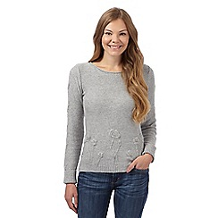 Mantaray - Grey floral embroidered ribbed jumper