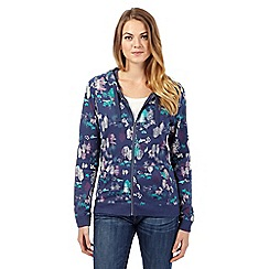 Mantaray - Blue nature print zip sweatshirt